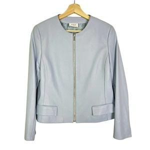 Akris Punto Sz 10 EU 42 Lamb Leather Zip Jacket Baby Blue Excellent!